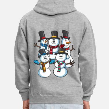 Christmas Snowmen at Christmas - Contrast Colour Hoodie