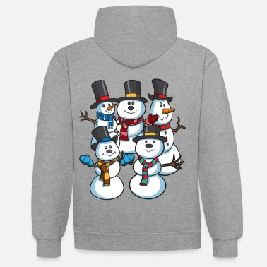 christmas snowmen at christmas contrast colour hoodie - Christmas Hoodie