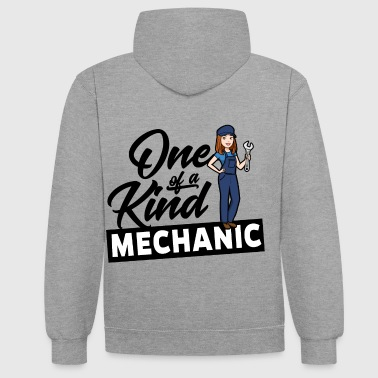 One Of A Kind Female Mechanic - One of a kind - Contrast Colour Hoodie