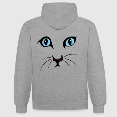 Cat Face I / cat face - Contrast Colour Hoodie