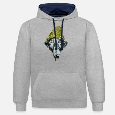 Hippie Monkey with hat - Contrast Colour Hoodie