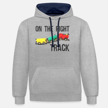 Trains On The Right Track Positive Design Train on Track. - Unisex Contrast Hoodie