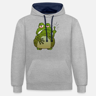 Character Toad middle finger funny cartoon naughty gift - Unisex Contrast Hoodie