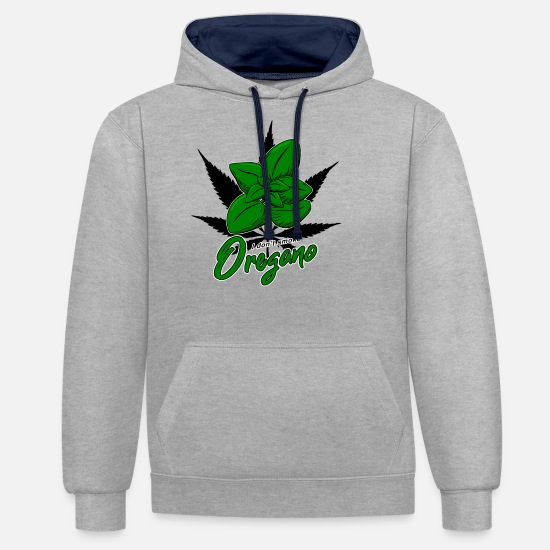 Joint Hoodies & Sweatshirts - Cannabis Marijuana Oregano - Unisex Contrast Hoodie heather grey/navy