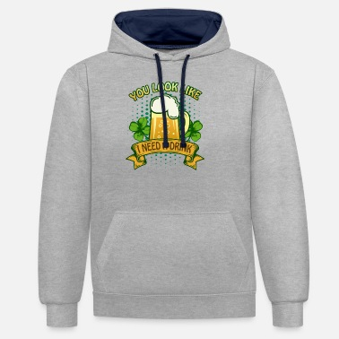 St Patricks Day Party paita Shamrock Beer Gift - Unisex kontrastihuppari