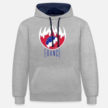 text logo fire flames burn hot france f - Unisex Contrast Hoodie
