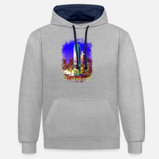 Cultural Capital Hoodies & Sweatshirts - Dallas metropolis cityscape shine luxury power - Unisex Contrast Hoodie heather grey/navy