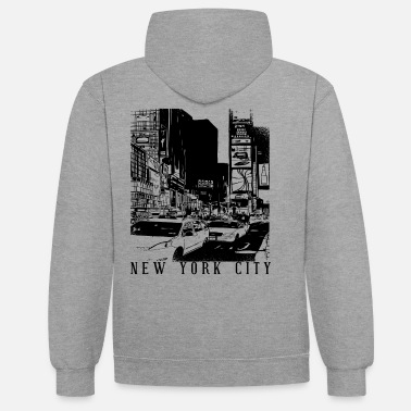 Square New York City Drawing, USA, NY Timesquare Shirt - Unisex Contrast Hoodie