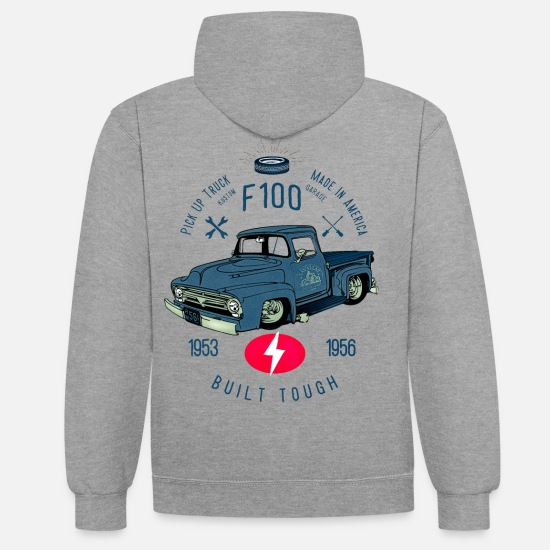 Bikes And Cars Collection V2 Sweaters & hoodies - F100 Built Tough - Unisex contrast hoodie grijs gemêleerd/navy