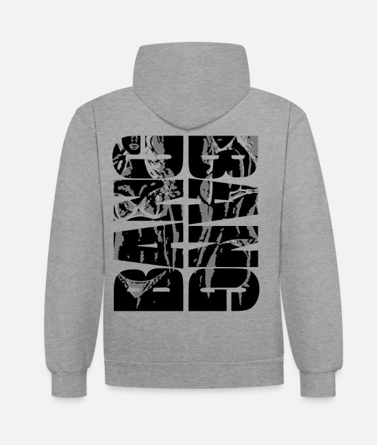 Glam Hoodies & Sweatshirts - Black BANG BANG sexy pin up girl 2reborn - Unisex Contrast Hoodie heather grey/navy