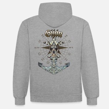 Gijón Anchor Nautical Sailing Boat Summer - Unisex Contrast Hoodie