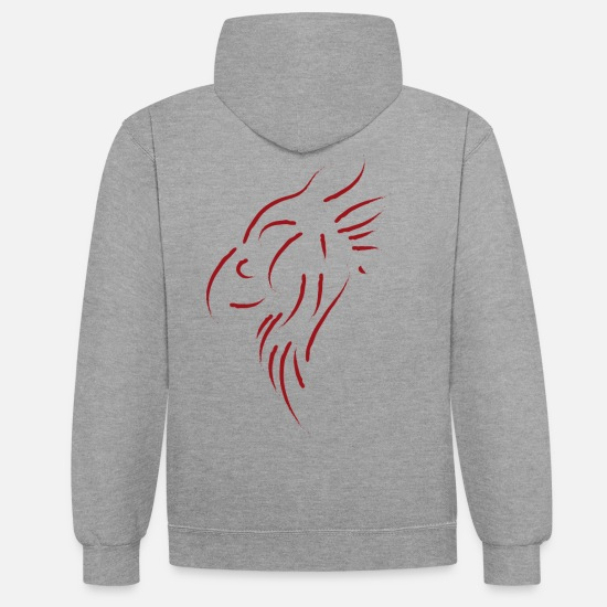 Rocker Hoodies & Sweatshirts - Griffin profile / blood red - Unisex Contrast Hoodie heather grey/navy