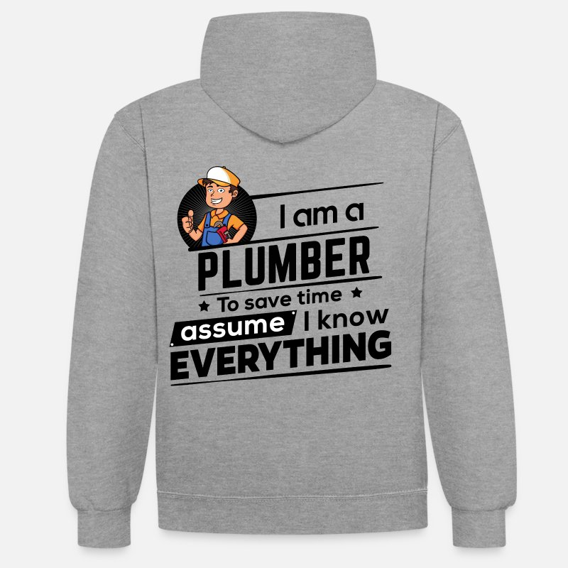 Plumber Hoodies & Sweatshirts - Pround Plumber Plumber - To Save Time - Unisex Contrast Hoodie heather grey/navy