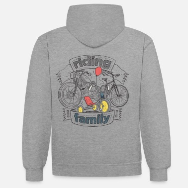Bikes And Cars Collection V2 riding family - Unisex Contrast Hoodie
