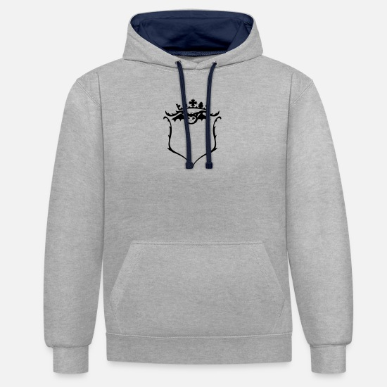 Shield Hoodies & Sweatshirts - A crest with crown - Unisex Contrast Hoodie heather grey/navy
