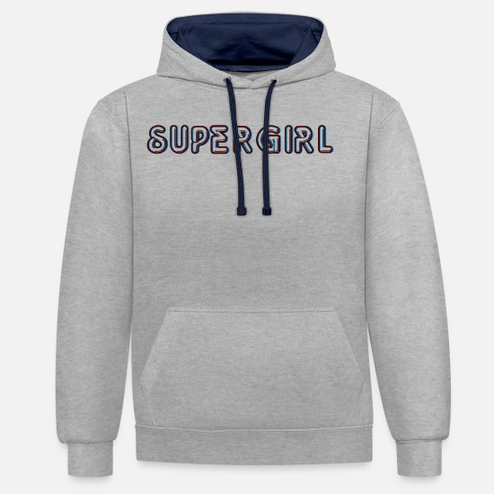 Emancipation Hoodies & Sweatshirts - Super woman - Unisex Contrast Hoodie heather grey/navy