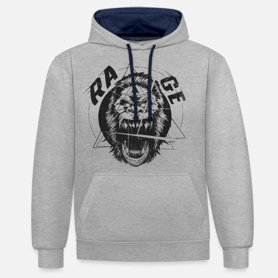Freestyle Hoodies & Sweatshirts - RAGE The King of the Apes - Unisex Contrast Hoodie heather grey/navy