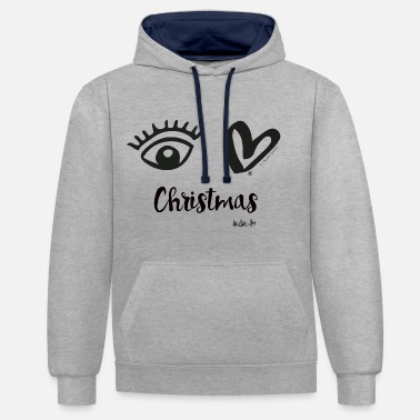 Eye Love Christmas Black - Unisex Contrast Hoodie