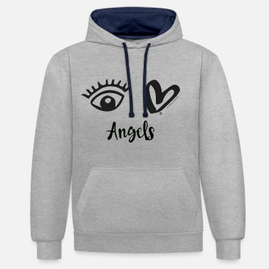 Eye-Love Angels Black - Unisex Contrast Hoodie