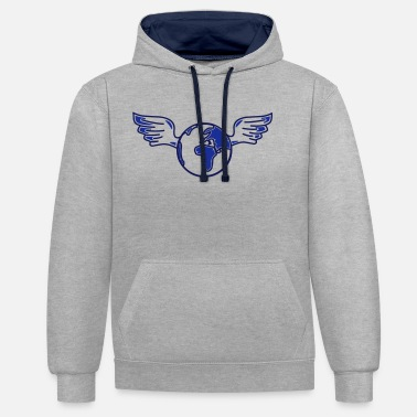 Global earth with wings - Unisex kontrast hættetrøje
