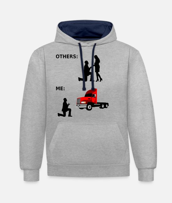 Cargo Hoodies & Sweatshirts - Truck, gift, truck driver, lorry, lorry driver - Unisex Contrast Hoodie heather grey/navy