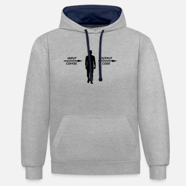 Cloud Computer Programmer Coders Coffee Lovers - Unisex Contrast Hoodie