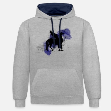 Hippogriff on blue background - Magic world - Unisex Contrast Hoodie