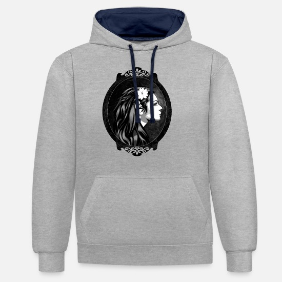 Magic Hoodies & Sweatshirts - Mystical elf - Unisex Contrast Hoodie heather grey/navy