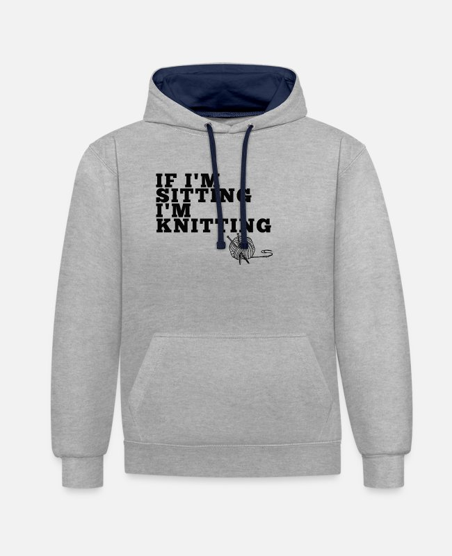 Miscellaneous Hoodies & Sweatshirts - Sitting & Knitting - Unisex Contrast Hoodie heather grey/navy