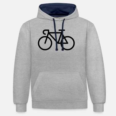 Pictograph Racing Bicycle / Bike (Icon / Pictogram) - Unisex Contrast Hoodie