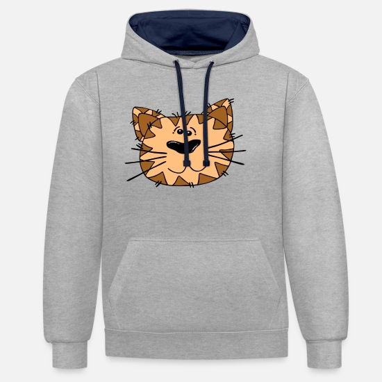Love Hoodies & Sweatshirts - cat face - Unisex Contrast Hoodie heather grey/navy