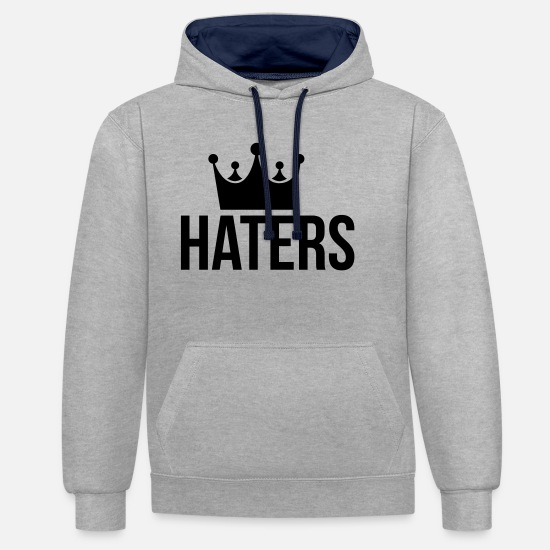 Hater Hoodies & Sweatshirts - Haters Hater og rap - Unisex Contrast Hoodie heather grey/navy