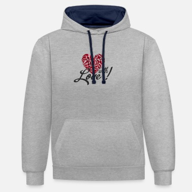 Love With Heart with love - Unisex Hoodie zweifarbig