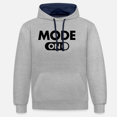 Mode (Your Text) Mode (ON) - Unisex contrast hoodie