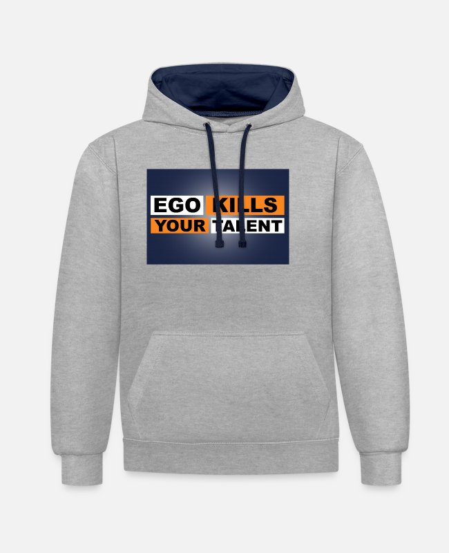 Training Pullover & Hoodies - Ego Kills Your Talent - Unisex Hoodie zweifarbig Grau meliert/Navy