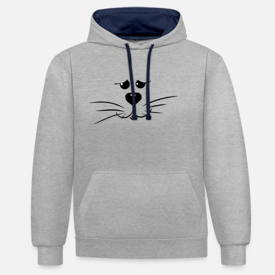 Symbol  Hoodies & Sweatshirts - cat face - Unisex Contrast Hoodie heather grey/navy