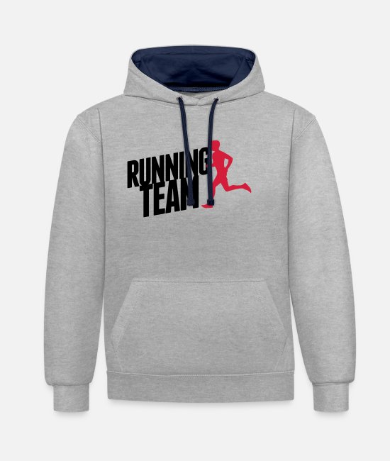 Speed Hoodies & Sweatshirts - Running Team - Unisex Contrast Hoodie heather grey/navy