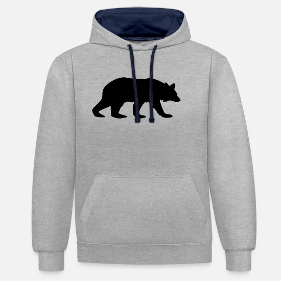 Stag Hoodies & Sweatshirts - bear animal - Unisex Contrast Hoodie heather grey/navy