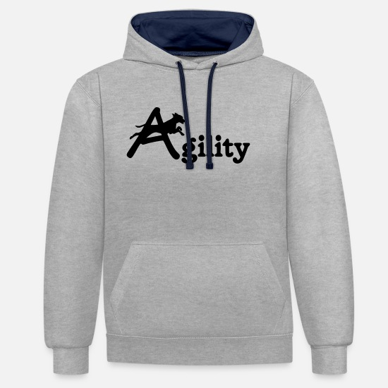 Dogs Hoodies & Sweatshirts - agility dog sports dog - Unisex Contrast Hoodie heather grey/navy