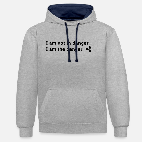 Radioactif Sweat-shirts - I am not in danger. I am the danger - Sweat à capuche contrasté unisexe gris chiné/bleu marine