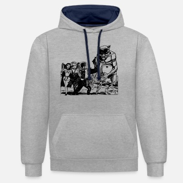Sci-fi Old retro future Alien Monster Design - Unisex Contrast Hoodie