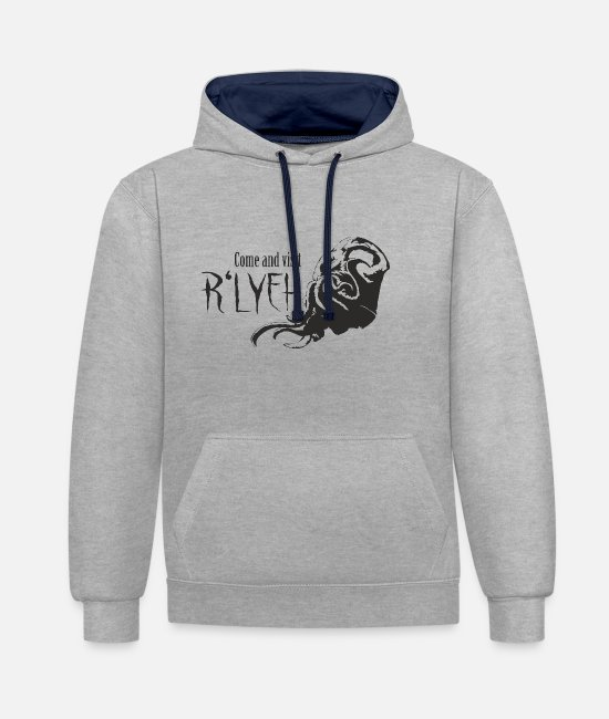 Travel Bug Hoodies & Sweatshirts - Come and visit R'lyeh - Cthulhu / Lovecraft - Unisex Contrast Hoodie heather grey/navy