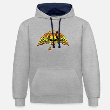 Guns Skull of Gold Guns and Roses - Unisex Contrast Hoodie