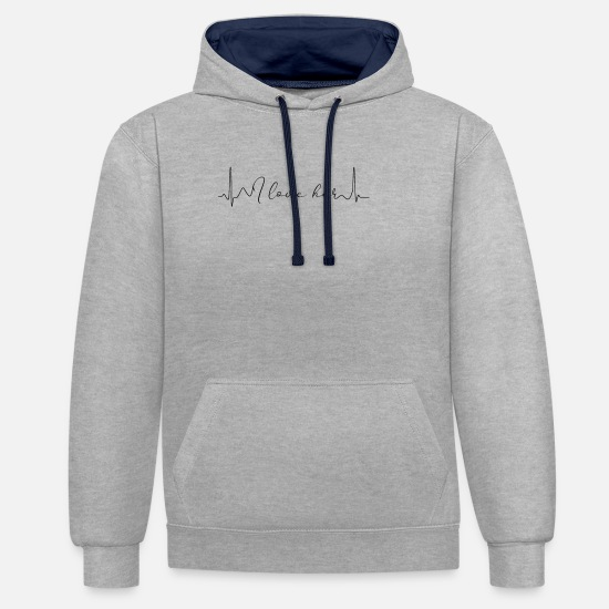 Love Hoodies & Sweatshirts - Pair - Unisex Contrast Hoodie heather grey/navy