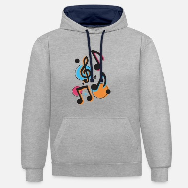 Music Musical Notes | By ClareMarie - Unisex Contrast Hoodie