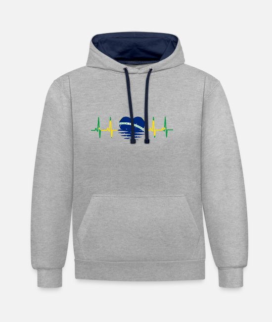 South America Hoodies & Sweatshirts - Brazil flag heartbeat pulse sine wave EKG - Unisex Contrast Hoodie heather grey/navy