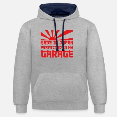 Retro Made in Japan Perfected in my Garage Tuning Auto - Unisex Contrast Hoodie