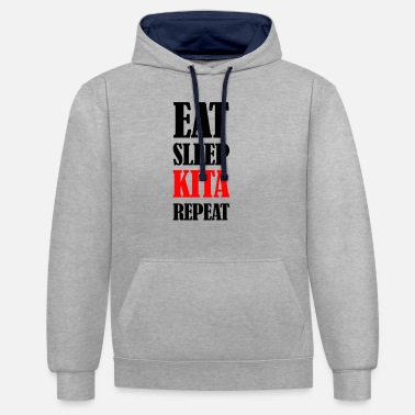 Krippe Eat Sleep Kita Repeat - Unisex Hoodie zweifarbig