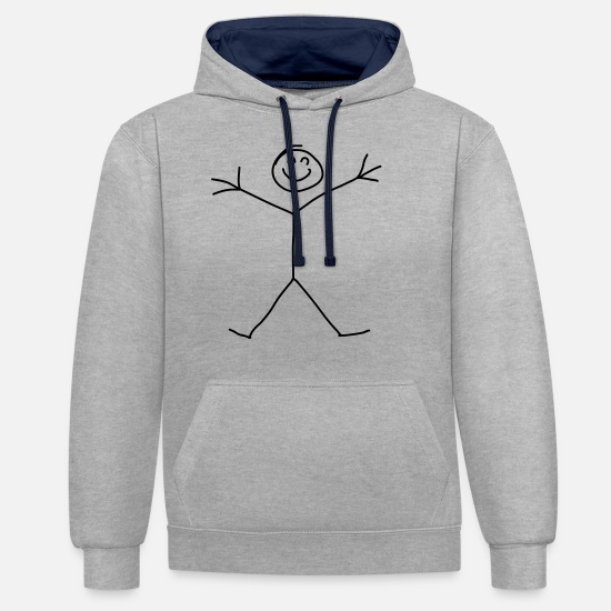 Small Hoodies & Sweatshirts - Stick Figure - Unisex Contrast Hoodie heather grey/navy
