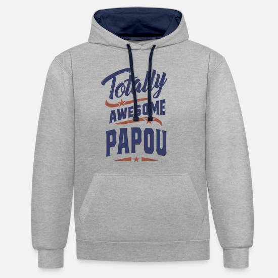 Father's Day Hoodies & Sweatshirts - Totally Awesome Papou - Unisex Contrast Hoodie heather grey/navy